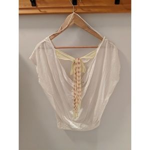 American Eagle cream t-shirt with back now, size S